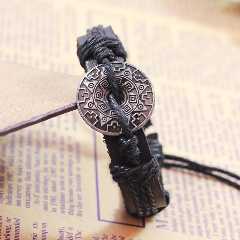 2014 New Fashion Charm Leather Bracelet Men Luxury Bracelets Bangles Vintage Jewelry for Women Bijoux Pulseira