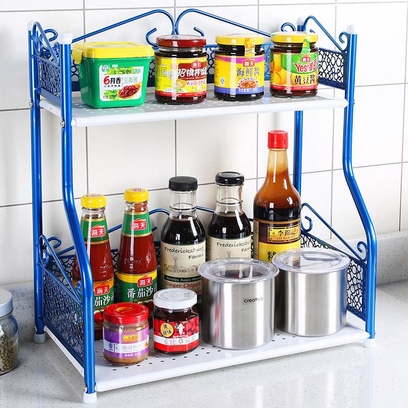 IKEA pastoral double kitchen shelf seasoning multifunction toilet bathroom rustproof metal storage shelving(China (Mainland))