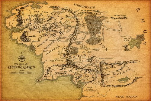 "01 Map of Middle Earth Lord Of The Rings Wall Sticker 36"" x 24"" inch Wall Poster"
