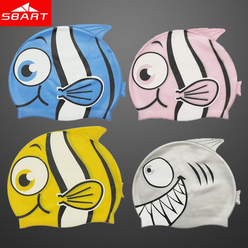 SBART Kids Swimming Cap Silicone Waterproof Fish Fancy Swimming Caps For Children Boys Girls Cartoon Swim Cap Hat High Quality J(China (Mainland))
