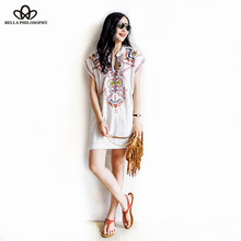 2015 summer Boho new European ethnic red embroidery short sleeve Cotton & Linen white casual dress(China (Mainland))