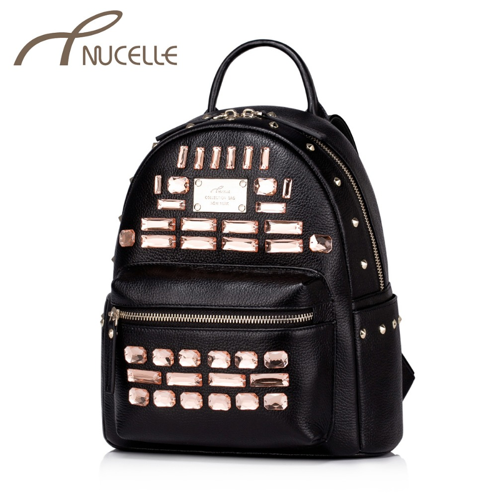 Фотография Nucelle Women Genuine Leather Backpack Fashion Ladies Cowhide Rivet Diamonds Female Daily Double Shoulder Bags Brand Gift NZ5809