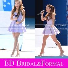 Ariana Grande Lavendel Kleid Schatz Satin kurze Abendkleid Berühmtheit Kleid Vestido De Festa Curto(China (Mainland))