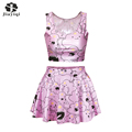 New Style 2 Piece Set Fantastic Cloud Print Ball Gown Vs Love Pink Women Suits Fashion