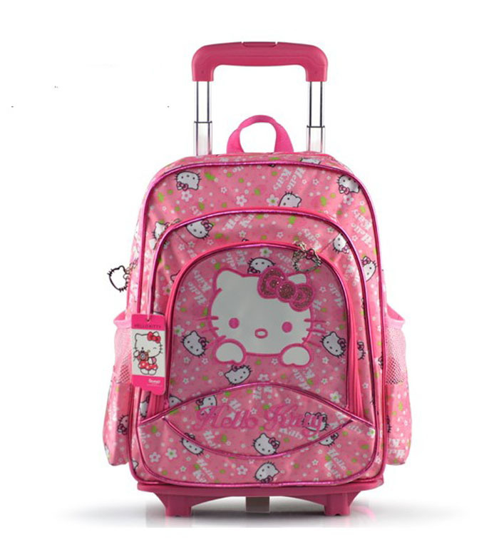 hello kitty triple layer children school bags with wheels