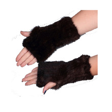 Womens Mittens 8'' Real Knitted Mink Fur Fingerless Gloves Winter Mittens Strong Elasticity Fur Mittens for Ladies Cold Weather(China (Mainland))