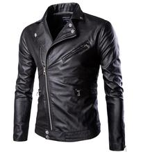 fashion stand collar motorcycle leather clothing men's Zipper leather jacket male outerwear blue Leather & Suede M-XXXL(China (Mainland))