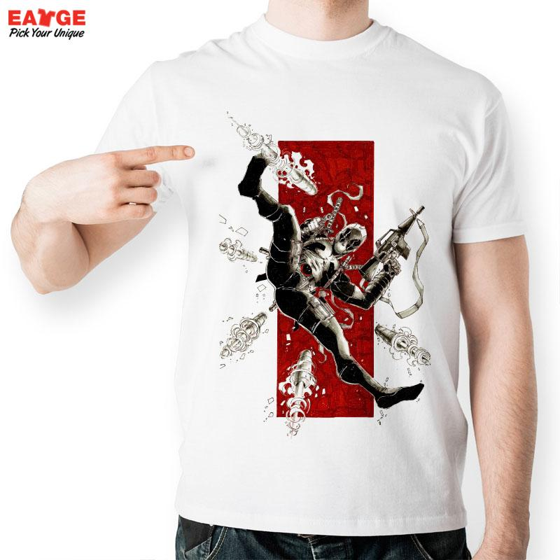 [EATGE] High Quality Deadpool Gun Combat T Shirt Funny White Print Pattern T-shirt Mutants Wade Wilson Tshirt For Men And Women(China (Mainland))
