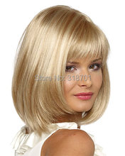 Blonde Wig Silky Straight Short CLASSY Bob style Synthetic wigs for women free shipping(China (Mainland))