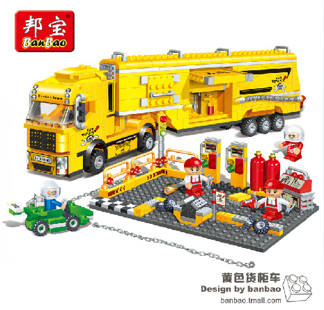 Model building kits compatible lego city traffic racing container truck F1 3D blocks Educational toys hobbies children - JENS store