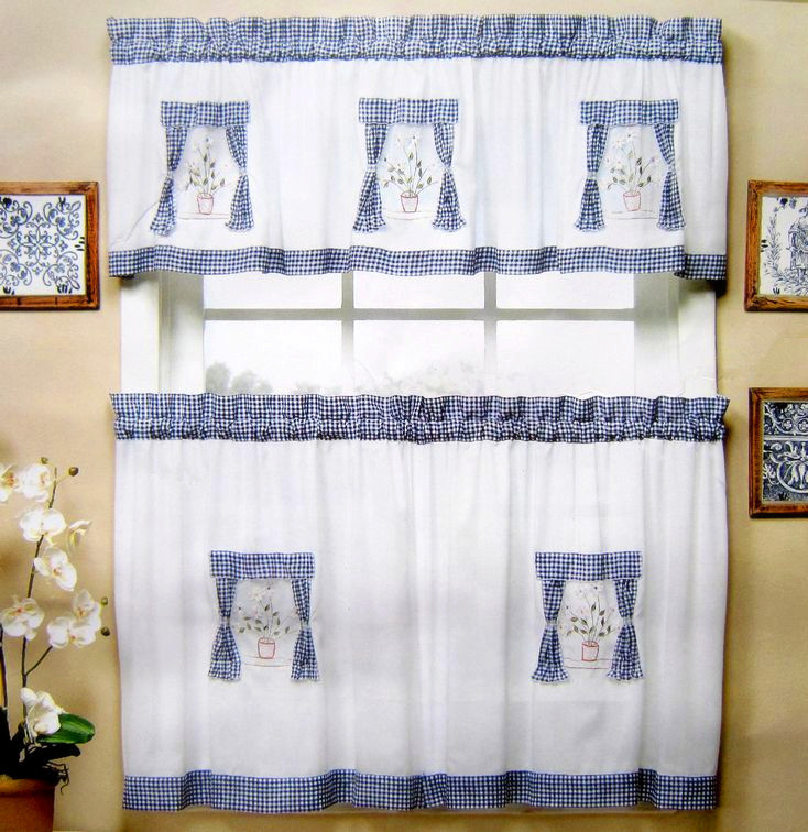 Blue Green Kitchen Curtains: American Style Fabric Embroidered Kitchen Curtain Set Semi