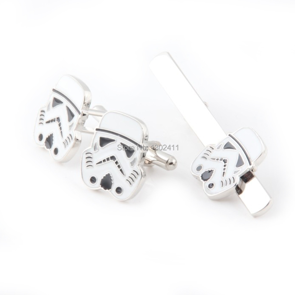 REVENGE OF THE SITH Marvel Comics Star Wars Storm Troops Tie Bar & Cuff links w/Gift Box Free Shipping Christmas Gift Discount(China (Mainland))