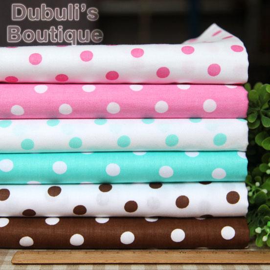 Polka Dots 6 Assorted Pre-Cut Twill Cotton Quilt Fabric Fat Quarter Tissue Bundle Charm Sewing Handmade Textile Cloth 45x45cm(China (Mainland))