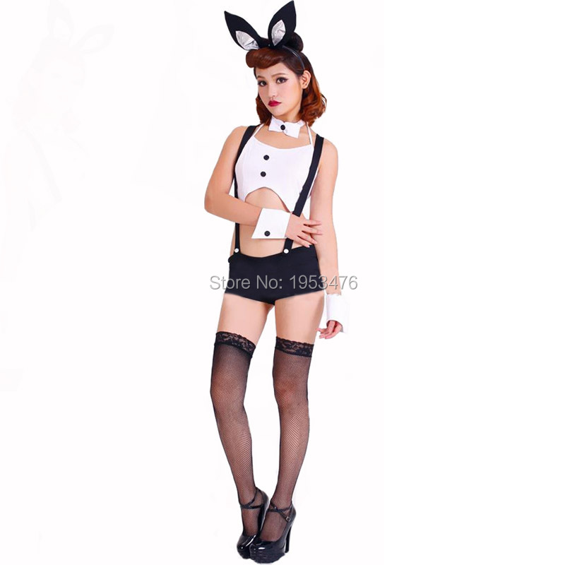Easter Women's Tuxedo Suspender Bunny Costume in Black/White with Ears Headband Halloween Favors(China (Mainland))