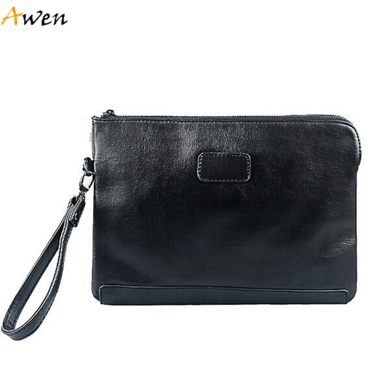 Awen - England Style Leather Envelope Clutches For Men,High Capacity Male Clutch With Wristbands,Zipper Open Mens Casual Wallet<br><br>Aliexpress