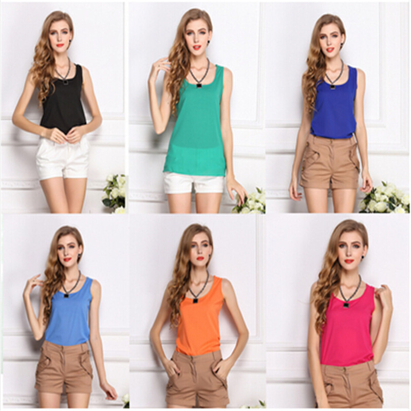 2015 New Summer Women's Clothes Chiffon Sleeveless Solid Neon Candy Color Causal Shirt Women Top Blusas Femininas - honest fish's store
