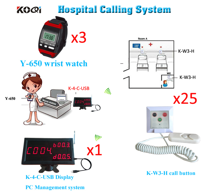 Patient Nurse Call System Improve Hospital Service Level Remote Alert Pager Emergency(1 display 3 wrist watch 25 call button)(China (Mainland))