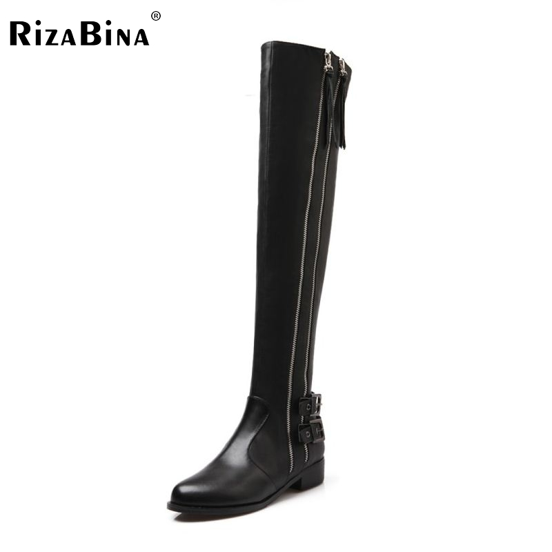 Women Genuine Real Leather Knee Boots Winter Boots Sexy High Heel Round Toe Zipper Fashion Buckle Women Boots Shoes Size 34-39