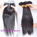Silk Base Closure With Bundles Malaysian Virgin Hair With Closure Straight 4 Pcs Hair Extension With
