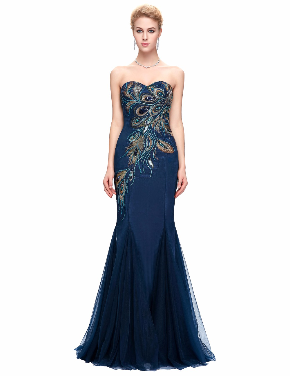 Evening dresses 2016 sexy mermaid dress long navy blue for Navy evening dresses for weddings