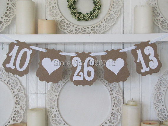 Free Shipping 1 Set Customized Date New Arrival Chic Wedding Photo Prop Sign Hanging Bunting Garlands(China (Mainland))