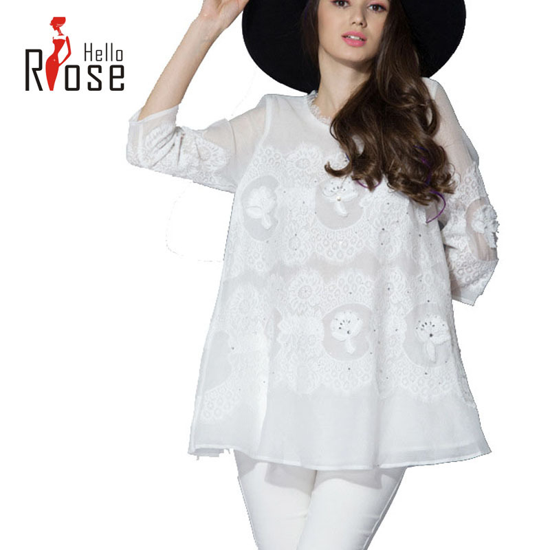 Hello Rose:Women Shirts Blouse  Plus Size Color Casual New Fashion Chiffon Blouse Long Length Three-quarters Sleeve ShirtОдежда и ак�е��уары<br><br><br>Aliexpress