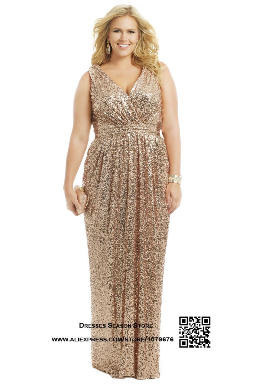 Gold party dress plus size