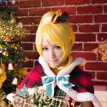 Love Live! LoveLive! Ayase Eli Cosplay Wigs Yellow Ponytail Hair Straight Medium Anime Cos Wig Pluto P348D(China (Mainland))