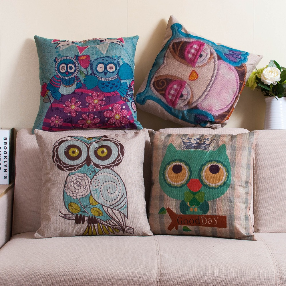 luxury sofa feathers owl printed cushion cover linen vintage decorative throws pillows cojines capa de almofadas sofa home decor