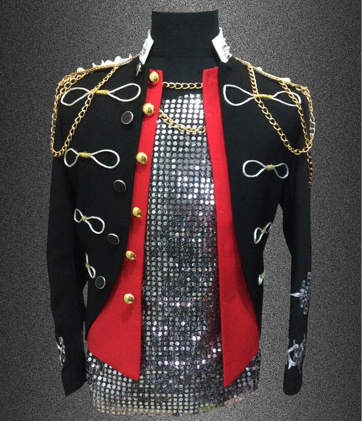 Plus size S-4XL black red Men suit top bar nightclub blazer rivet epaulet costume male singer DJ stage jacket outerwear coat