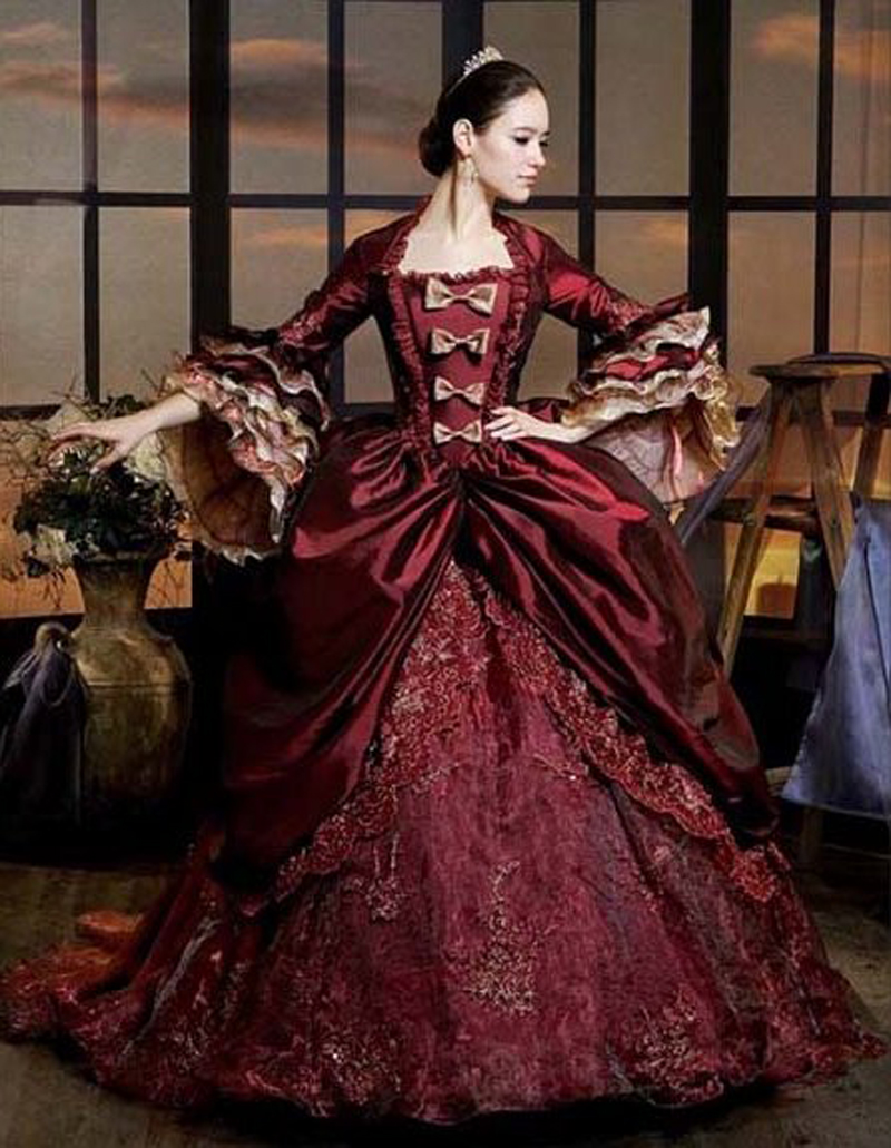 Burgundy victorian period costume vintage long ball gown for Period style wedding dresses