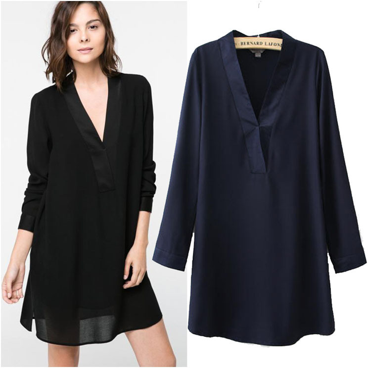 2014 autumn new women loose long sleeve v neck shirt tunic Women s long sleeve shirt dress