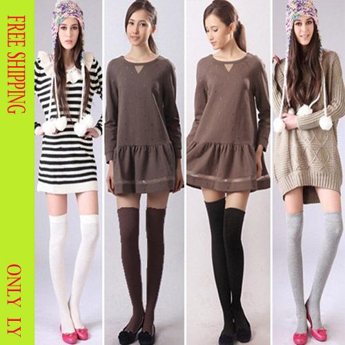 100% хлопок гольфы fashoin 2014 полосатый леди тонкий сапоги носки для женщин 4 цветов бесплатная доставка