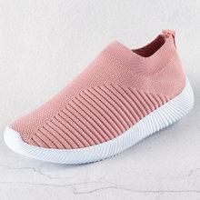 Dành Cho Nữ Nữ Dệt Kim Lưu Hóa Giày Giày Slip On Nữ Phẳng Giày Lưới Huấn Luyện Viên Mềm Mại Đi Bộ Giày Zapatos Mujer(China)