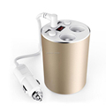 Car charger Gold Cup Styling 3 1A USB Car Charger 100W Cigarette Lighter Socket 12 24V
