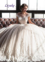 Buy Glamorous Tulle Scoop Neckline Illusion Wedding Dress Embroidery Appliques Lace Chapel Train Ball Gown Bridal Dress Liyuke J106 for $206.54 in AliExpress store