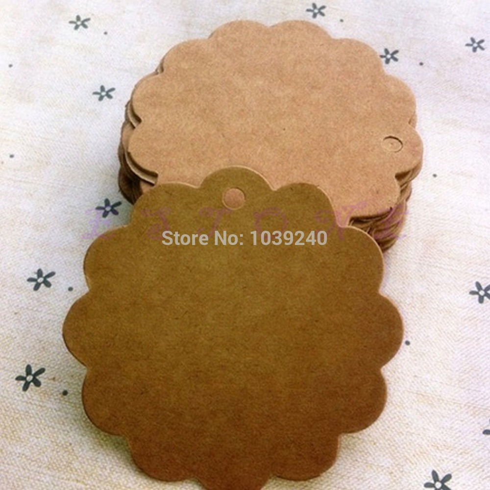 E74 Free Shipping 100pcs Blank Brown Kraft Paper Marked Blank Card Hand Draw Tags Labeled Card Circular lace(China (Mainland))