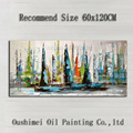 Hand Painted Abstract Boat Oil Painting Hang Paintings Modern Seascape Knife Landscape Paintings Canvas Painting For