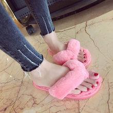 2018 zapatos mujer tacon chinelos de ver o feminina Kreative Frauen Casual Imitation Pelz Plüsch Haus Spa Flip-Flops Hausschuhe #7(China)