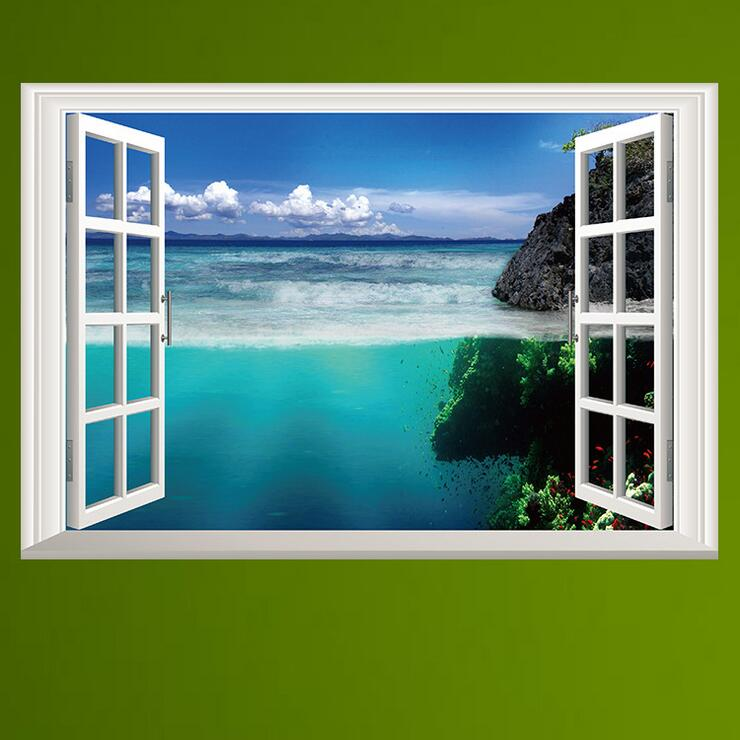Fake Window For Office : Beach poster promotion shop for promotional