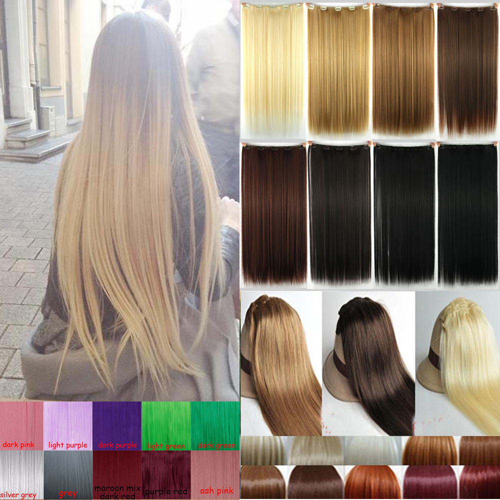 Natural Straight Hair Clip In On Hair Extensions 26 Inch