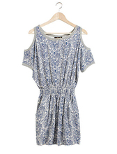 2015 New Arrival Summer Style Women Fashion Sexy O-Neck Off the Shoulder Print A-Line Dresses Vintage High Waist Free Shipping