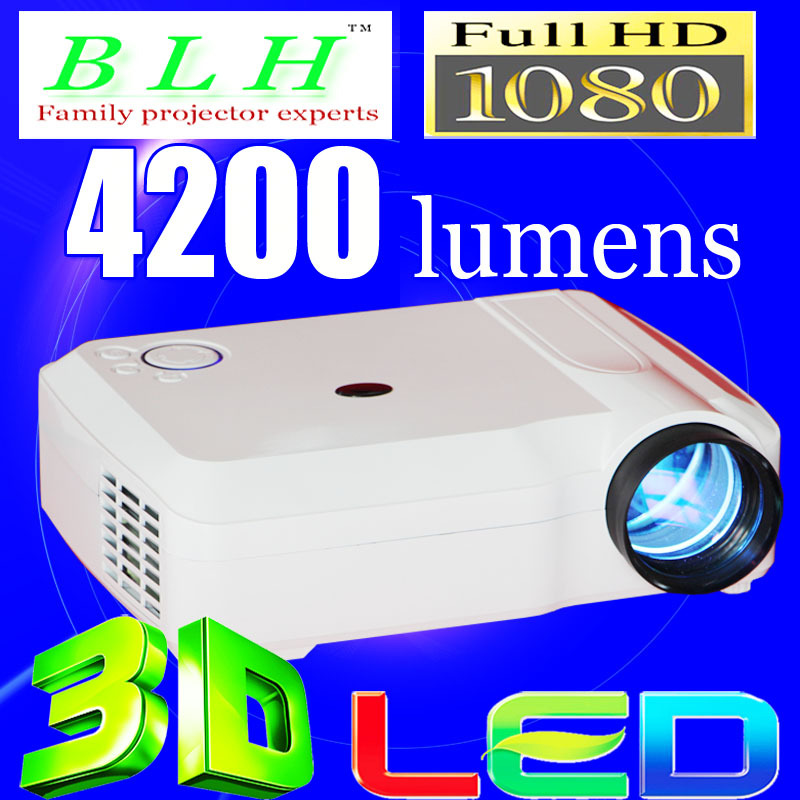 Top Rank Home Theater Projector proyector HD Cinema 1280x800 200inch 1080P TV Video HDMI USB LCD LED 3D Blu Ray Game White(China (Mainland))