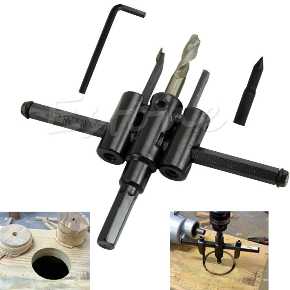 Y142 New Free Shipping Adjustable 30mm-120mm Metal Wood Circle Hole Saw Drill Bit Cutter Kit DIY Tool<br><br>Aliexpress