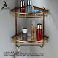 Wall Mounted Antique finish NEW aluminum Bathroom Shower shampoo Shelf Basket Holder Fashion Double Layer MJ