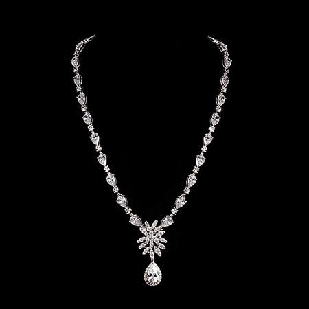 Здесь можно купить  2015 Luxury Flower Collar Necklace White Gold Plated AAA Cubic Zirconia Crystal Statement Wedding Necklaces for Women  Ювелирные изделия и часы