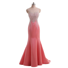 Vestido De Noche Formal Elegant Real Beaded Coral Satin Long Mermaid Evening Dress Robe Soiree 2015 Women Formal Evening Gowns(China (Mainland))