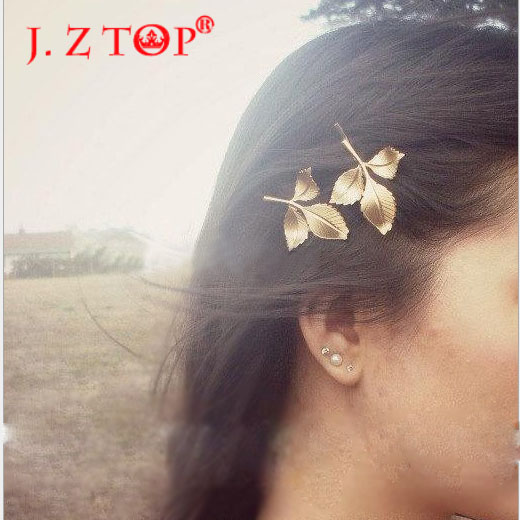 Acessorios Para Cabelo Real 2016 New Fashion Golden Leaves And Fresh Greek Wind Mori Antique Leaf For Clip Hair For Women(China (Mainland))