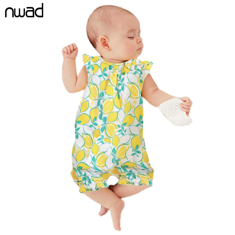 Summer Newborn Baby Girl Clothes 2016 New Lovely Lemon Printing Romper For Baby Kids Sleeveless Jumpsuit Baby Costume FF038(China (Mainland))