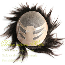 FREE SHIPPING Short Remy Human Hair Toupee For Men 7*9inch Mono Lace With Thin Skin Mens Hair Pieces(China (Mainland))